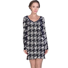 Houndstooth1 Black Marble & Silver Foil Long Sleeve Nightdress