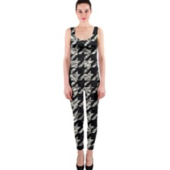 Houndstooth1 Black Marble & Silver Foil Onepiece Catsuit