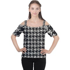 Houndstooth1 Black Marble & Silver Foil Cutout Shoulder Tee