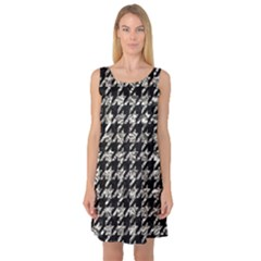 Houndstooth1 Black Marble & Silver Foil Sleeveless Satin Nightdress