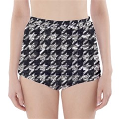 Houndstooth1 Black Marble & Silver Foil High Waisted Bikini Bottoms