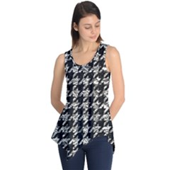 Houndstooth1 Black Marble & Silver Foil Sleeveless Tunic