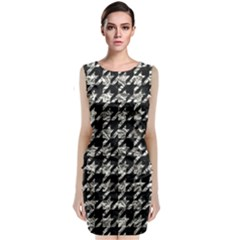 Houndstooth1 Black Marble & Silver Foil Classic Sleeveless Midi Dress