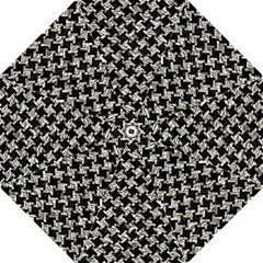 Houndstooth2 Black Marble & Silver Foil Straight Umbrellas
