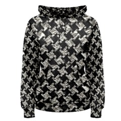 Houndstooth2 Black Marble & Silver Foil Women s Pullover Hoodie