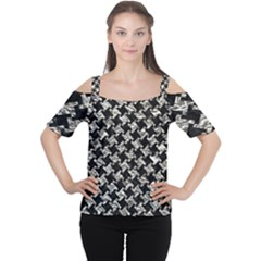 Houndstooth2 Black Marble & Silver Foil Cutout Shoulder Tee