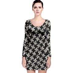 Houndstooth2 Black Marble & Silver Foil Long Sleeve Velvet Bodycon Dress