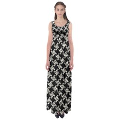 Houndstooth2 Black Marble & Silver Foil Empire Waist Maxi Dress