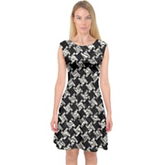 Houndstooth2 Black Marble & Silver Foil Capsleeve Midi Dress