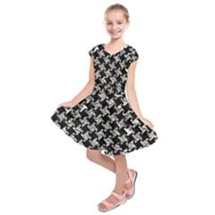 Houndstooth2 Black Marble & Silver Foil Kids  Short Sleeve Dress
