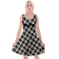 Houndstooth2 Black Marble & Silver Foil Reversible Velvet Sleeveless Dress