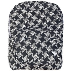 Houndstooth2 Black Marble & Silver Foil Full Print Backpack