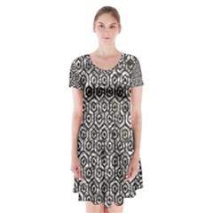 Hexagon1 Black Marble & Silver Foil Short Sleeve V Neck Flare Dress