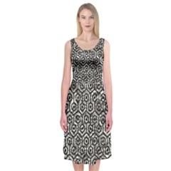 Hexagon1 Black Marble & Silver Foil Midi Sleeveless Dress