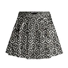 Hexagon1 Black Marble & Silver Foil Mini Flare Skirt