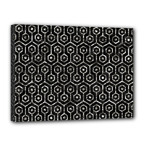 Hexagon1 Black Marble & Silver Foil (r) Canvas 16  X 12