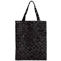 Hexagon1 Black Marble & Silver Foil (r) Zipper Classic Tote Bag