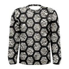 Hexagon2 Black Marble & Silver Foil Men s Long Sleeve Tee