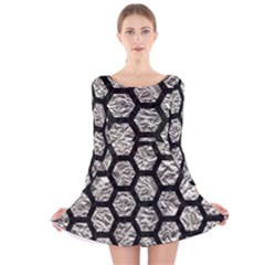 Hexagon2 Black Marble & Silver Foil Long Sleeve Velvet Skater Dress