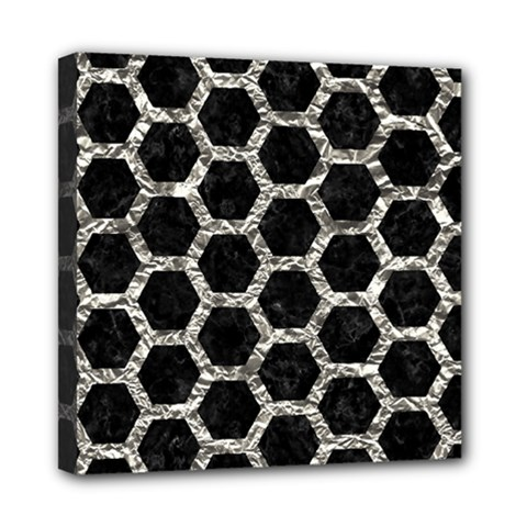Hexagon2 Black Marble & Silver Foil (r) Mini Canvas 8  X 8
