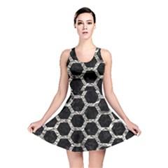 Hexagon2 Black Marble & Silver Foil (r) Reversible Skater Dress
