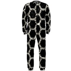 Hexagon2 Black Marble & Silver Foil (r) Onepiece Jumpsuit (men)