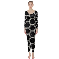 Hexagon2 Black Marble & Silver Foil (r) Long Sleeve Catsuit