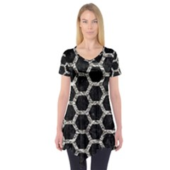 Hexagon2 Black Marble & Silver Foil (r) Short Sleeve Tunic