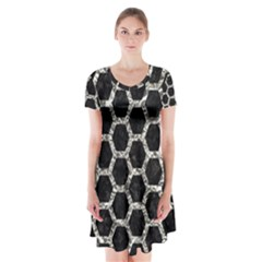 Hexagon2 Black Marble & Silver Foil (r) Short Sleeve V Neck Flare Dress