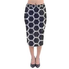 Hexagon2 Black Marble & Silver Foil (r) Velvet Midi Pencil Skirt