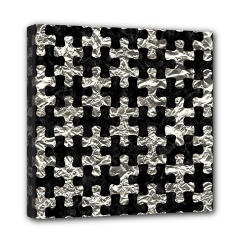 Puzzle1 Black Marble & Silver Foil Mini Canvas 8  X 8