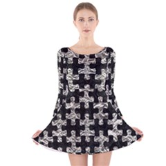 Puzzle1 Black Marble & Silver Foil Long Sleeve Velvet Skater Dress
