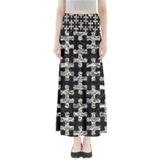 Puzzle1 Black Marble & Silver Foil Full Length Maxi Skirt