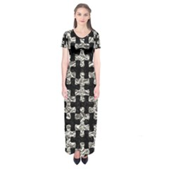 Puzzle1 Black Marble & Silver Foil Short Sleeve Maxi Dress