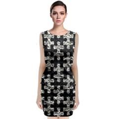Puzzle1 Black Marble & Silver Foil Sleeveless Velvet Midi Dress