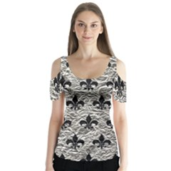 Royal1 Black Marble & Silver Foil (r) Butterfly Sleeve Cutout Tee