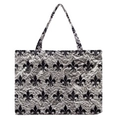 Royal1 Black Marble & Silver Foil (r) Zipper Medium Tote Bag