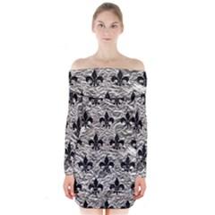 Royal1 Black Marble & Silver Foil (r) Long Sleeve Off Shoulder Dress