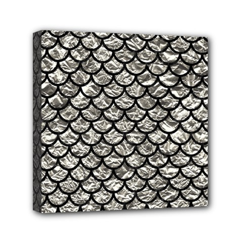 Scales1 Black Marble & Silver Foil Mini Canvas 6  X 6