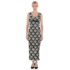 Scales1 Black Marble & Silver Foil Fitted Maxi Dress