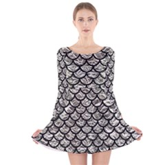 Scales1 Black Marble & Silver Foil Long Sleeve Velvet Skater Dress