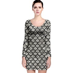 Scales1 Black Marble & Silver Foil Long Sleeve Velvet Bodycon Dress