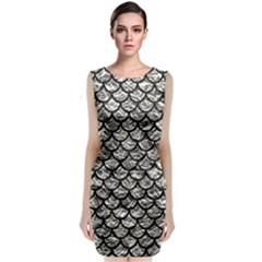 Scales1 Black Marble & Silver Foil Classic Sleeveless Midi Dress