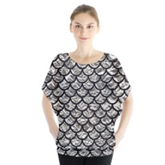 Scales1 Black Marble & Silver Foil Blouse