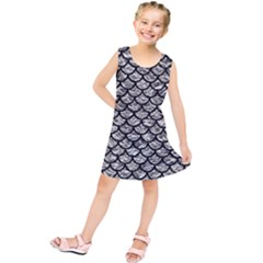 Scales1 Black Marble & Silver Foil Kids  Tunic Dress