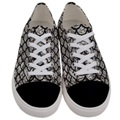 Scales1 Black Marble & Silver Foil Women s Low Top Canvas Sneakers