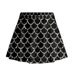 Scales1 Black Marble & Silver Foil (r) Mini Flare Skirt