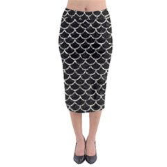 Scales1 Black Marble & Silver Foil (r) Midi Pencil Skirt