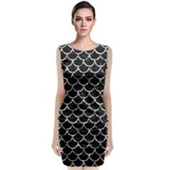 Scales1 Black Marble & Silver Foil (r) Sleeveless Velvet Midi Dress