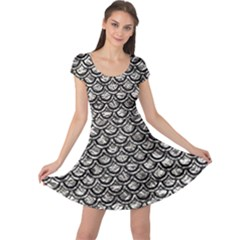 Scales2 Black Marble & Silver Foil Cap Sleeve Dress